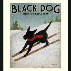 Amanti Art - Ryan Fowler 'Black Dog Ski' Framed Art Print 30 x 36-inch - In this fetching piece for the dog lover, artist Stephen Fowler playfully riffs on vintage advertisements.