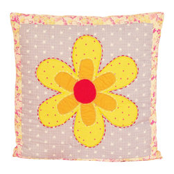 Pem America - Olivia Pink Pillow - Large bright flowers with applique and fun background floral prints.  This versatile pattern is a must to brighten up any room.  The fun prints for this patterns use bright yellow, orange, red, hot pink to make this bed pop.  Any room will benefit from the color that Olivia brings into the room. 16 x 16 inch pillow with hand pieced face design coordinates with quilt. 100% Cotton face cloth filled with 100% hypoallergenic polyester. Machine washable.