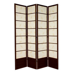 Oriental Furniture - 7 ft. Tall Botanic Shoji Screen - 4 Panel - Walnut - Difficult to find in the USA, this extra tall 7 foot Botanic Shoji Screen has a kick plate to protect the shade from scuffs. Great for rooms with high ceilings, for a more substantial feeling, or where greater privacy is preferred.