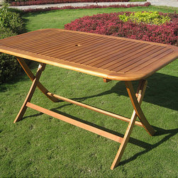 Royal Tahiti Yellow Balau Rectangular Outdoor Folding Dining Table - My ideal patio space would have a great outdoor table paired with some white modern chairs. I love the contrast.