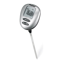 POLDER - Water Resistant Thermometer, Grey - This Water Resistant Thermometer is quick, efficient transfer of heat to the sensing probe for accurate results. The easy-to-read digital display provides results in 8 seconds or less, so you can spend less time waiting and more time creating culinary masterpieces.
