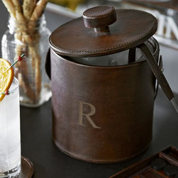Saddle Leather Lidded Ice Bucket and Tongs, Chocolate - Your bar can have a personal touch with a leather ice bucket sporting your monogram.