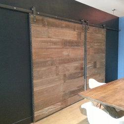 Barn Wood Sliding Doors in Steel Frame - Daniel Chase