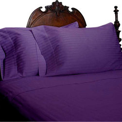 SCALA - 400TC Stripe Purple Olympic Queen Flat Sheet & 2 Pillowcases - Redefine your everyday elegance with these luxuriously super soft Flat Sheet . This is 100% Egyptian Cotton Superior quality Flat Sheet that are truly worthy of a classy and elegant look.