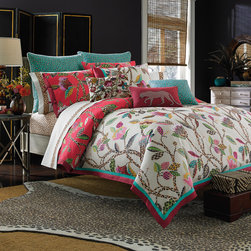 None - Collier Campbell Leopard Trail 3-piece Comforter Set - This duvet set is conveniently machine washable and 100 percent cotton for comfort. With its beautiful floral print,this comforter will accent your decor.