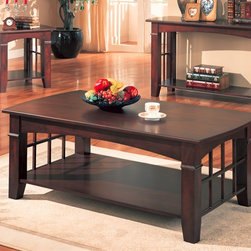 Wildon Home � - Brentwood Coffee Table - At the center of your living room seating group, this casual contemporary coffee table adds great style and functionality. The arched sides with open grid work offer a subtle and sophisticated mission influence, with a contemporary casual twist. The spacious lower shelf offers storage and display space for coffee table books, magazines, and other small accent items. Finished in a warm Cherry, this coffee table is sure to complement your living room decor. Features: -Casual style.-Wood veneers and solids.-Notched tapered legs, smooth edges.-One large lower shelf.-Smooth tops with gently curved ends.-Deep dark Cherry finish.-Collection: Brentwood.-Distressed: No.Dimensions: -Overall dimensions: 19'' H x 28'' W x 50'' D.-Overall Product Weight: 64.9 lbs.