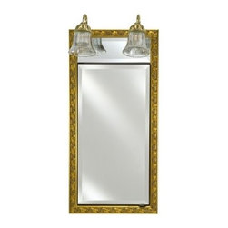 Afina Signature Traditional Lighted Single Door 24W x 34H in. Recessed Medicine - The Afina Signature Collection Traditional Integral Lighted Single Door 24W x 34H in. Recessed Medicine Cabinet reflects your home's classic style. This medicine cabinet features a tastefully ornate frame with a beveled mirror that opens to reveal two additional mirrors inside, as well as three adjustable glass shelves. It comes in over 50 frame styles and finish options, which means it's easy to pick the right one for you. This medicine cabinet features recessed mounting to conserve space and comes with an elegant two-sconce light bar above.About AfinaAfina Corporation is a manufacturer and importer of fine bath cabinetry, lighting fixtures, and decorative wall mirrors. Afina products are available in an extensive palette of colors and decorative styles to reflect the trends of a new millennium. Based in Paterson, N.J., Afina is committed to providing fine products that will be an integral part of your unique bath environment.