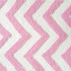"""The Rug Market - Pink Chevron Area Rug, 16"""" x 27"""" - This contemporary rug is made of UV Poly and will surely add color to any space"""