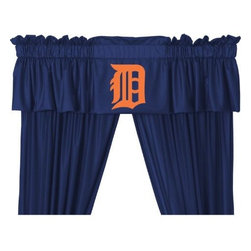Sports Coverage - MLB Detroit Tigers Valance - Finish off the room in style with this great looking MLB Detroit Tigers Valance. A must have for any true fan! Show your team spirit with this officially licensed MLB team Valance. Valance is 14L x 88W. Has a 3 rod pocket for gathering, and 2 header. Logo is screenprinted. Machine washable. 100% Polyester Jersey Mesh.
