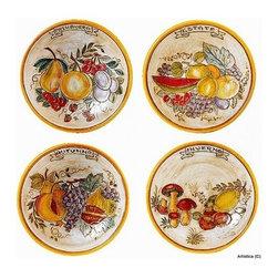 """Artistica - Hand Made in Italy - Graffito: The """"Four Seasons"""" Graffito Wall Plates (Set of Four) (10D.) - Ogni stagione ha il suo frutto."""