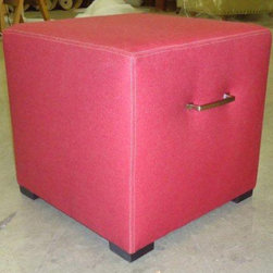 Upholstered Ottomans - Morgan ottoman, red denim cube with double needle stitching