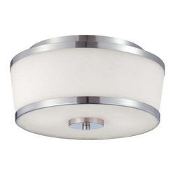 Savoy House - Savoy House 6-4384-13 2 Light Flush Mount Ceiling Fixture from the Hagen Collect - Savoy House 6-4384-13 Hagen 2 Light Flush Mount Ceiling FixtureThe streamlined style exhibited in this two light flush mount ceiling fixture from the Hagen collection will bring a sleek, modern look to any room. This piece has a timeless appeal with a lustrous Heirloom Brass finish and soft white etched glass.Dimensions: