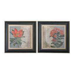 Uttermost - Uttermost Vintage Fleur Rouge 2 Floral Art Panels - 2 Floral Art Panels belongs to Grace Feyock Collection by Uttermost Wooden Frames Have A Black Base Coat With Medium Gray Wash Accented By Bronze Undertones And Heavy Gray Wash On Outer Edges. Inner Lips Have Bronze Undertones With Brown And Black Wash And A Heavy Gray Glaze. Prints Are Surrounded With Off-white Linen Liners. Wall Art (2)
