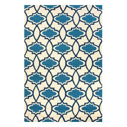 Jaipur Rugs - Moroccan Pattern Polypropylene Blue/Ivory Indoor-Outdoor Area Rug ( 5x7.6 ) - Inspired by the rich history and range of design movements that have defined the architecture of Spain's cultural center, the Barcelona Collection brings a transitional flair to any indoor or outdoor space. Whether the style leans towards fun, boldly-scaled flourishes or understated simplicity, this broad range offers something for every taste. Artfully developed in hand-hooked polypropylene, Barcelona pairs the durability necessary to withstand the elements with the colorful spirit of the Catalonian countryside.