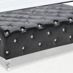 Fine Mod Imports - Tufted Bench in Black - Contemporary style. Chrome plated steel legs. Faux leather upholstery. Wooden frame. Faux crystal buttons. Warranty: One year. Assembly required. 54 in. L x 19 in. W x 19.5 in. HPlace at the foot of your bed or in hallway or foyer, this leather bench will look great in any modern room.