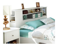 South Shore - South Shore Breakwater Full / Queen Bookcase Headboard in Pure White Finish - South Shore - Headboards - 3150092 - The Breakwater Bookcase Headboard is constructed from laminated particle board in a pure white finish. The headboard is compatible with Full or Queen size beds. It features three front openings for ample storage and a side compartment providing additional storage. The practical Breakwater Bookcase Headboard will fit comfortably with your decor in the bedroom.