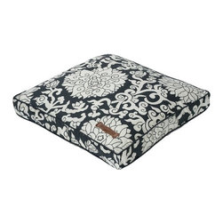 "Jax and Bones - Chelsea Rectangular Pillow Dog Bed - Features: -Rectangular pillow bed. -Floral motifs of white on a steel blue back drop. -Premium upholstery grade fabric. -Available in 36"" or 42"" width sizes. -Comes with complimentary piping and with water proof channeled insert. -Cover is removable and machine washable. -Filled with Sustainafill Eco friendly fiber. -Made in USA. -36"" Pillow bed dimensions: 4"" H x 36"" W x 28"" D. -42"" Pillow bed dimensions: 5"" H x 42"" W 36"" D."