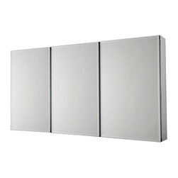 Pegasus - Pegasus 36 in. x 31 in. Recessed or Surface Mount Medicine Cabinet in Silver - 36 in. x 31 in. Recessed or Surface Mount Medicine Cabinet in Tri-View Beveled Mirror