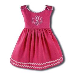 RR - Garden Princess Pique Rick Rack Dress in Hot Pink with White Trim - Garden Princess Pique Rick Rack Dress in Hot Pink with White Trim