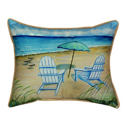 Betsy Drake - Betsy Drake Adirondak Chairs Pillow- Indoor/Outdoor - Adirondak Chairs Pillow- Large indoor/outdoor pillow. These versatile pillows are equal at enhancing your homes seaside decor and adding coastal charm to an outdoor setting arrangment. They feature printed outdoor, fade resistant fabric for years of wear and enjoyment. Solid back and pollyfill. Proudly made in the USA.