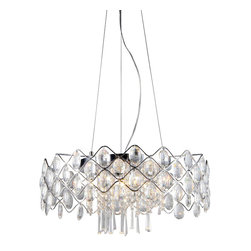 Warehouse of Tiffany - Persephone' Chrome and Crystal 10-light Chandelier - Add some elegance to your home with this 'Persephone' chrome chandelier. This dynamic lighting element features generous rows of cascading crystals to catch the light and steal the attention in any room. Setting: IndoorFixture finish: ChromeMaterial: Metal and crystalSwitch: HardwiredNumber of lights: Ten (10)Requires ten (10) 20-watt light bulbs (not included)Dimensions: 22 inches wide x 19 inches deep x 44 inches highThis fixture does need to be hard wired. Professional installation is recommended.Attention California Residents: This product contains Lead, a chemical known to the State of California to cause cancer and other reproductive harm.CSA Listed, ETL Listed, UL Listed