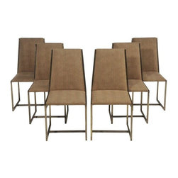 Used Milo Baughman Style Dining Chairs - Set of 6 - A set of six Milo Baughman style chairs with brass finished chrome frames and herringbone suede upholstery. These chairs have a clean architectural presence that will add a touch of sophistication to your dining room.