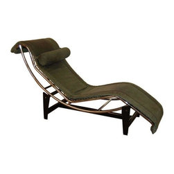 """Pre-owned Le Corbusier LC4 Green Leather Chaise Longue - Vintage 1970's LC4 chaise longue designed by Le Corbusier, Pierre Jeanneret and Charlotte Perriand in 1928 and originally produced by Cassina. This chaise was made by Zani Colliezone in Italy. Original off-green nubuck leather cushion and headrest on a chrome frame with a matte black steel base. Adjustable for a variety of positions. Deemed the """"Relaxing Machine"""" by Le Corbusier - this chaise is the ultimate 20th Century design icon!"""