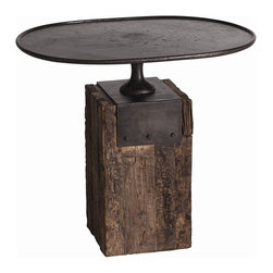 Arteriors - Anvil Oval Tea Table - Make a striking statement in your home with this twist-on-traditional side table. The reclaimed wood block makes a sturdy base for the forged iron top, inspired by 19th century cake stands.