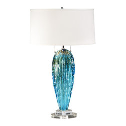 Decorative Crafts - Decorative Crafts Venetian Glass Table Lamp - 7064 - Desciption : Hand-blown aqua and clear Venetian glass lamp with two lights and round hardback fabric shade.