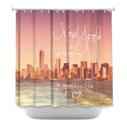 DiaNoche Designs - Shower Curtain Artistic New York Skyline - DiaNoche Designs works with artists from around the world to bring unique, artistic products to decorate all aspects of your home.  Our designer Shower Curtains will be the talk of every guest to visit your bathroom!  Our Shower Curtains have Sewn reinforced holes for curtain rings, Shower Curtain Rings Not Included.  Dye Sublimation printing adheres the ink to the material for long life and durability. Machine Wash upon arrival for maximum softness. Made in USA.  Shower Curtain Rings Not Included.