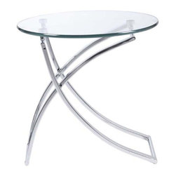 Eurostyle - Eurostyle Talisa Round Glass Top Side Table w/ Chromed Steel Base - Round Glass Top Side Table w/ Chromed Steel Base belongs to Talisa Collection by Eurostyle The Talisa Side Table adds visual appeal to any space - from the living room to the office and even next to the bed as a nightstand! This accent table features a tempered glass top and a beautiful bent chromed steel base - the design highlight of the piece. Accentuate your contemporary home decor with this beautiful glass end table. Assembly level/degree of difficulty: No Assembly Required. In the event of a return this item is subject to a restocking fee. Side Table (1)