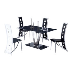 Global Furniture USA - D551DT & D803DC Black & White Five Piece Dining Set - The D551DT table will compliment any dining room with it's stylish modern design. The table features a rectangular shaped black tempered glass table top. The base comes in a V shaped design with a silver finish attached to a black base. The elegant design of the D803DC chairs beautifully compliment the look of the dining table. Crafted from chromed metal with black and white PVC material. The dining set includes the dining table and four chairs only.