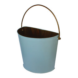 Antique Revival - Aqua Bolero Metal Half Bucket - The Bolero Metal half-bucket can look great on the wall of a kitchen, living room, patio, bathroom or bedroom. The smooth, bright blue finish adds the perfect splash of color while providing the perfect way to display a floral arrangement on a wall. The iron handle and hand-welded metal give this half-bucket an authentic, rustic vibe.
