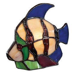 Quoizel - Quoizel Tiffany Angel Fish Tiffany Accent Figure - Tiffany - Angel Fish: Elegant Tiffany style is a timeless staple of home decor. The various designs are hand-assembled using the copper foil technique developed by Louis Comfort Tiffany. With an enormous variety of colors and patterns to choose from, Quoizel Tiffany's have become more popular than ever.
