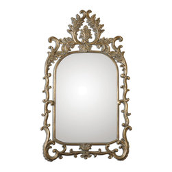 Uttermost - Abelia Gold Arch Mirror - Delightfully Ornate Mirror Finished In Antiqued Gold Leaf Accented With A Light Gray Wash.