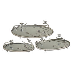 Uttermost - Uttermost 4.75H in. Birds On A Limb Tray Set of 3 - Antiqued, silver champagne metal frames and details with plain mirrors for the tray bases. Sizes: Small-15 x 4 x 9, Medium-18 x 4 x 11, Large-21 x 5 x 13