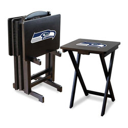 Imperial International - Seattle Seahawks NFL TV Trays with Stand - Check out these GREAT Tray Tables. They're a great way to show your team spirit on game day or movie night! They're a perfect accessory for your Man Cave, Game Room, Garage or Basement.
