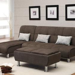 Coaster - Brown Microfiber Sofa Bed And Ottoman Collection - Make entertaining and accommodating overnight guests easy with this sofa bed and ottoman collection. Not only can you comfortably seat many people on these plush microfiber pieces, you can also create a king sized bed by combining the sofa bed and chaise sofa bed. The storage ottoman also includes 2 serving trays for added convenience. Accent pillows included.