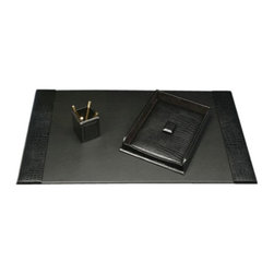 Bey-Berk - Aydon Black Croco Leather 3-Piece Desk Set - D1500-A3 - Shop for Desk and Drawer Organizers from Hayneedle.com! A perfect blend of style and functionality the Black Croco Leather Desk Set will make a stunning addition to your office desk. A crocodile skin-like texture enhances the executive look of this dark leather desk set. The desk pad has the textured surface flanking smooth leather for a functional work space. An attractive paper tray keeps your letterhead protected in a stylish covered box while the open pencil holder keeps pens pencils and other small office supplies organized.