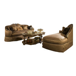 """AICO Furniture - """"Michael Amini"""" The Sovereign 2PC Sofa Set - Soft curves, hand carvings and silver and gold tipping are harmoniously tied together with decorative hardware, while drawing influence from classic European architecture. Bring the influence of European antiques to life with opulent and posh """"Michael Amini"""" 2 PC Living Room Set, The Sovereign Collection featuring traditional carvings, detailed looping, harlequin marble and a subtle cafe latte finish called Soft Mink. Solid birch is used throughout the collection because of its close grains, and satiny texture, and the carefully applied café latte finish enhances the natural beauty of the wood."""
