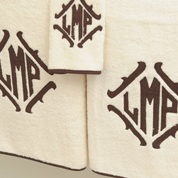 Maxwell 1 Bath Towel - There is a rich feel to family-labeled bath towels. I especially love the shape and feel of this monogram.