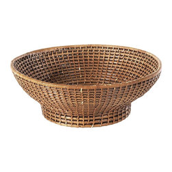 Eco Displayware - Footed Rattan Bowl in Brown - Great for closet, bath, pantry, office or toy and game storage. Earth friendly. 13 in. Dia. x 0.5 in. H (0 lbs.)These natural colored baskets add warmth and charm and keep you organized.