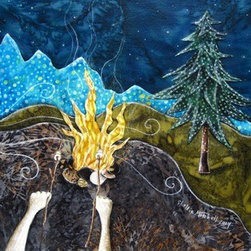 We Waited All Day For Night To Come (Original) by Shellie Mitchell - Who doesn't love sitting around a campfire and roasting marshmallows for smores? Perfect for any outdoor lover! My favorite part of camping is when the stars fill the sky and I feel the heat of the campfire on my cheeks! This piece is done in my original collage like style, piecing together layers of fabric onto wood.