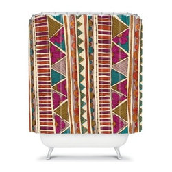 DENY Designs Valentina Ramos Ethnic Stripes Shower Curtain - The DENY Designs Valentina Ramos Ethnic Stripes Shower Curtain has a sense of style that cannot be denied. Made from woven polyester, this unique shower curtain has an exciting design with vivid colors to wow the eye. You can forget about all of those drab curtains, this is just what you need.About DENY DesignsDenver, Colorado based DENY Designs is a modern home furnishings company that believes in doing things differently. DENY encourages customers to make a personal statement with personal images or by selecting from the extensive gallery. The coolest part is that each purchase gives the super talented artists part of the proceeds. That allows DENY to support art communities all over the world while also spreading the creative love! Each DENY piece is custom created as it's ordered, instead of being held in a warehouse. A dye printing process is used to ensure colorfastness and durability that make these true heirloom pieces. From custom furniture pieces to textiles, everything made is unique and distinctively DENY.