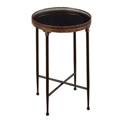 Aspire - Metal Tea Table - This lovely tea table features all metal construction with a black marble inset into the top tray. Metal is finished dark brown and antique bronze. Metal. Color/Finish: Brown, black. Assembly Required. 26 in. H x 18 in. W x 18 in. D. Weight: 14 lbs.