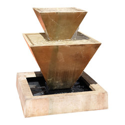 Double Oblique Outdoor Water Fountain, Ancient - The Double Oblique is a great centerpiece for your courtyard or patio. It features unique angles that will definitely be a conversation piece. The fountain also creates vast amount of water flow for sounds to take pleasure in.