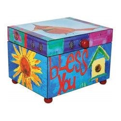 """Westland - 5 Inch """"Bless You"""" Music Box Painted with Bird, Sunflower, and House - This gorgeous 5 Inch """"Bless You"""" Music Box Painted with Bird, Sunflower, and House has the finest details and highest quality you will find anywhere! 5 Inch """"Bless You"""" Music Box Painted with Bird, Sunflower, and House is truly remarkable."""