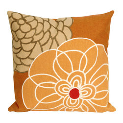 Liora Manne - Liora Manne Disco Orange Throw Pillow - Flower power. This throw pillow is blooming with warm pumpkin orange tones and curvy petals that catch the attention. The removable cover is handmade from incredibly soft microfiber and formed using the company's patented Lamontage process, in which fibers are intricately cut, blended, and layered by hand, then mechanically interlocked. Plus, it's antimicrobial and can used to brighten seating spaces indoors or out. Available in multiple sizesIncludes pillow and insert100% polyester microfiberHandmade and machine-processedAntimicrobialRemovable zipper-closure coversIndoor or outdoor useShips in 2-4 weeks