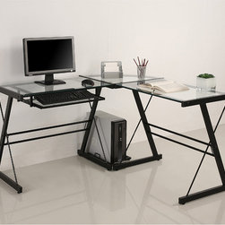 Walker Edison - L-Shape Glass Corner Computer Desk - Improve the efficiency of your workspace with this versatile glass computer desk. In addition to its sleek look, the desk has an L-shaped design that helps you stay more organized. Install the sliding keyboard tray on whichever side suits your needs.