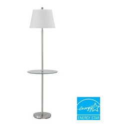 CAL Lighting - CAL Lighting Brushed Steel Floor Lamp: 60 in. Andros Glass Table Lamp BO-2077GT- - Shop for Lighting & Fans at The Home Depot. With clean sleek lines, this beautiful floor lamp is an easy way to light up your decor. Simple, yet elegant, it is set n a polished brushed steel finish and topped with a crisp white linen shade.It features a stationary tempered glass tray table and a three way switch mechanism for optimal control of light.